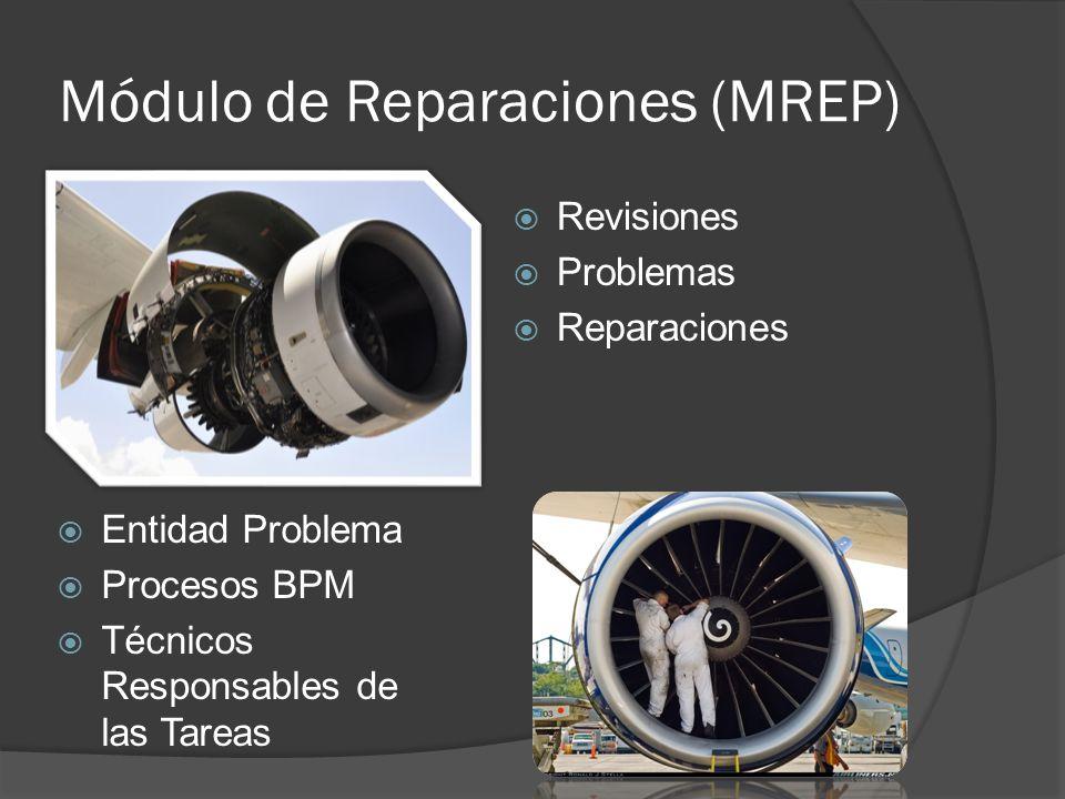 Módulo de Reparaciones (MREP) Revisiones Problemas Reparaciones Entidad Problema Procesos BPM Técnicos Responsables de las Tareas