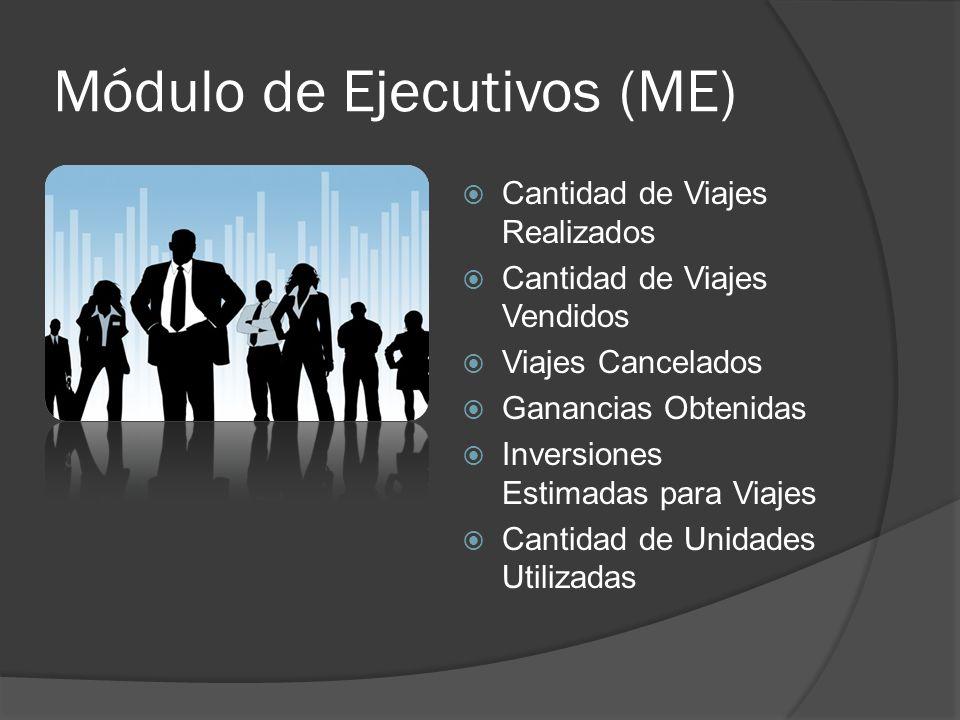 Módulo de Ejecutivos (ME) Cantidad de Viajes Realizados Cantidad de Viajes Vendidos Viajes Cancelados Ganancias Obtenidas Inversiones Estimadas para Viajes Cantidad de Unidades Utilizadas