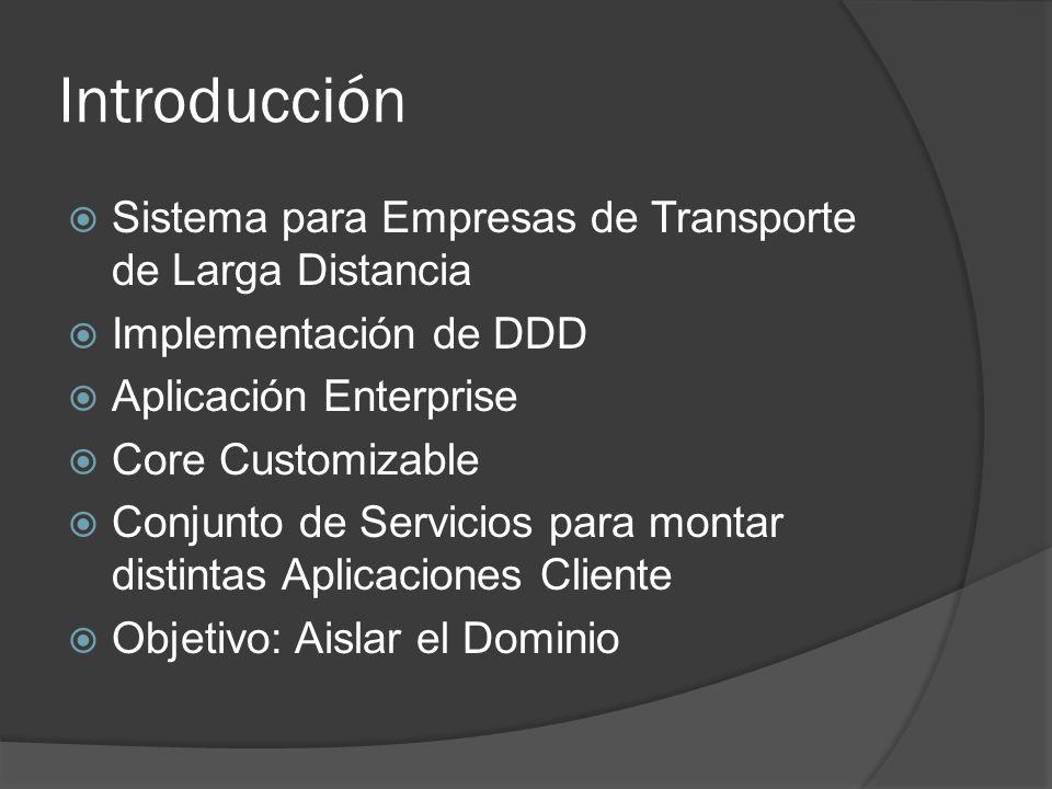Introducción Sistema para Empresas de Transporte de Larga Distancia Implementación de DDD Aplicación Enterprise Core Customizable Conjunto de Servicio