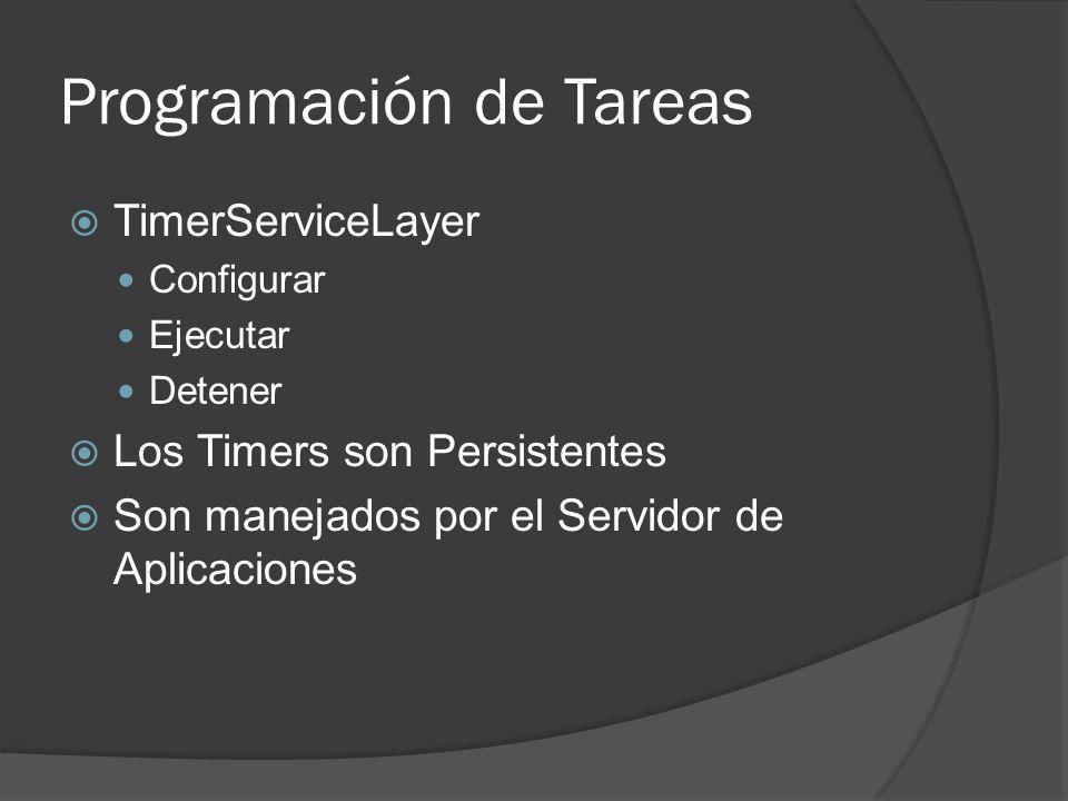 Programación de Tareas TimerServiceLayer Configurar Ejecutar Detener Los Timers son Persistentes Son manejados por el Servidor de Aplicaciones
