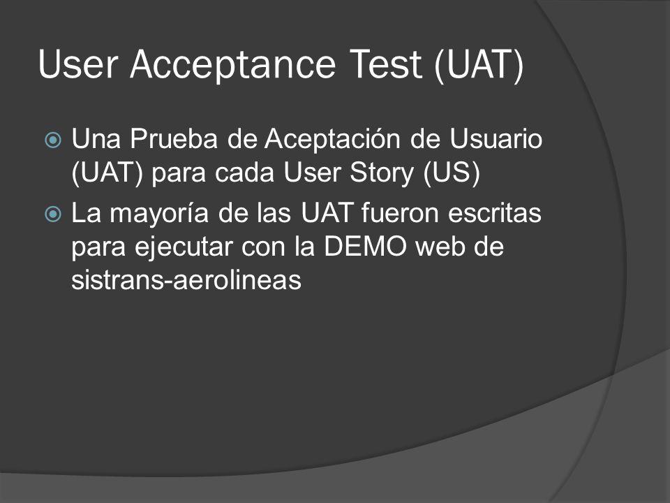 User Acceptance Test (UAT) Una Prueba de Aceptación de Usuario (UAT) para cada User Story (US) La mayoría de las UAT fueron escritas para ejecutar con la DEMO web de sistrans-aerolineas