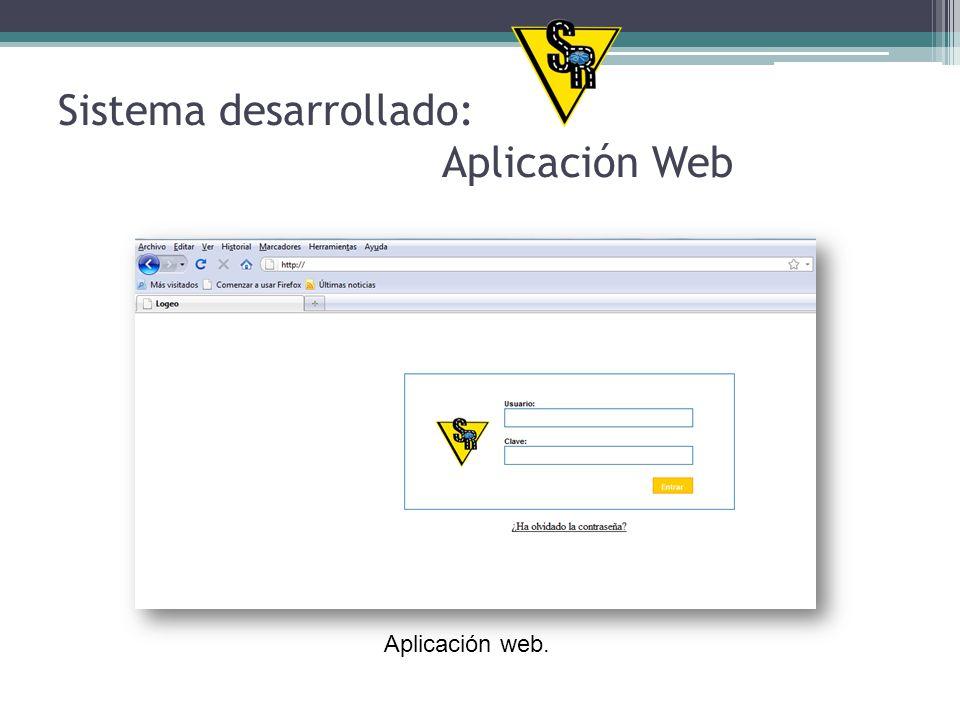 Sistema desarrollado: Aplicación Web Aplicación web.