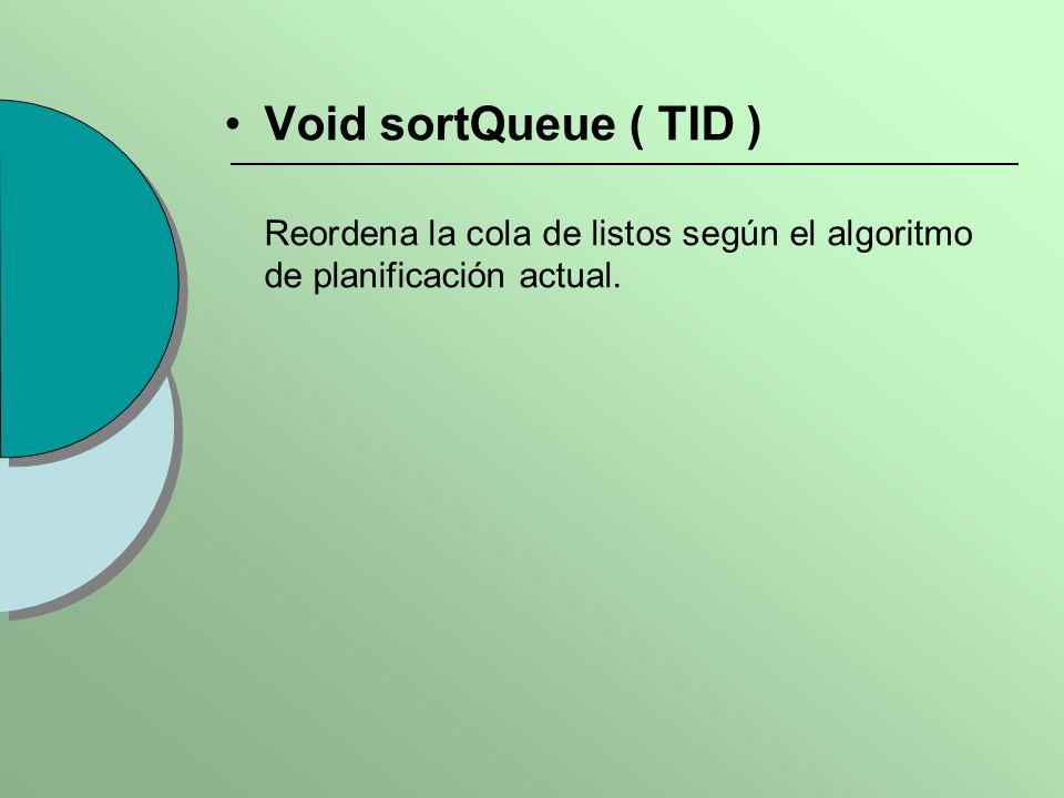 Void sortQueue ( TID ) Reordena la cola de listos según el algoritmo de planificación actual.