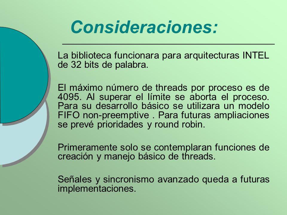 Consideraciones: La biblioteca funcionara para arquitecturas INTEL de 32 bits de palabra.
