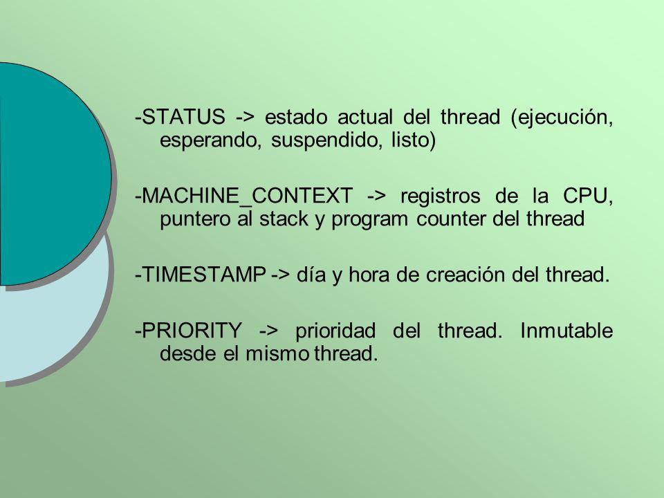 -STATUS -> estado actual del thread (ejecución, esperando, suspendido, listo) -MACHINE_CONTEXT -> registros de la CPU, puntero al stack y program counter del thread -TIMESTAMP -> día y hora de creación del thread.