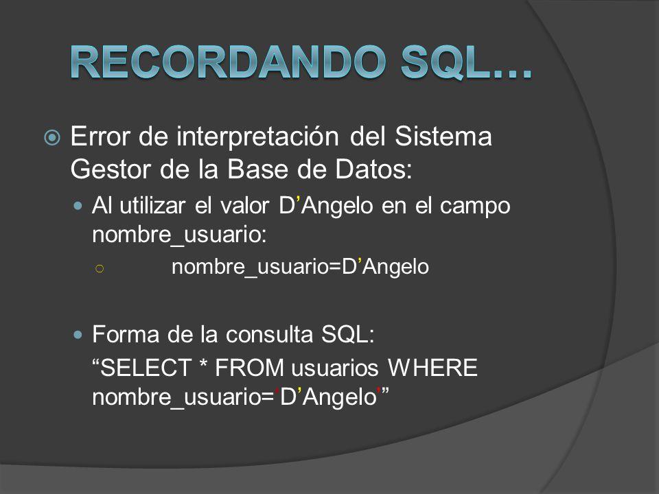 Error de interpretación del Sistema Gestor de la Base de Datos: Al utilizar el valor DAngelo en el campo nombre_usuario: nombre_usuario=DAngelo Forma