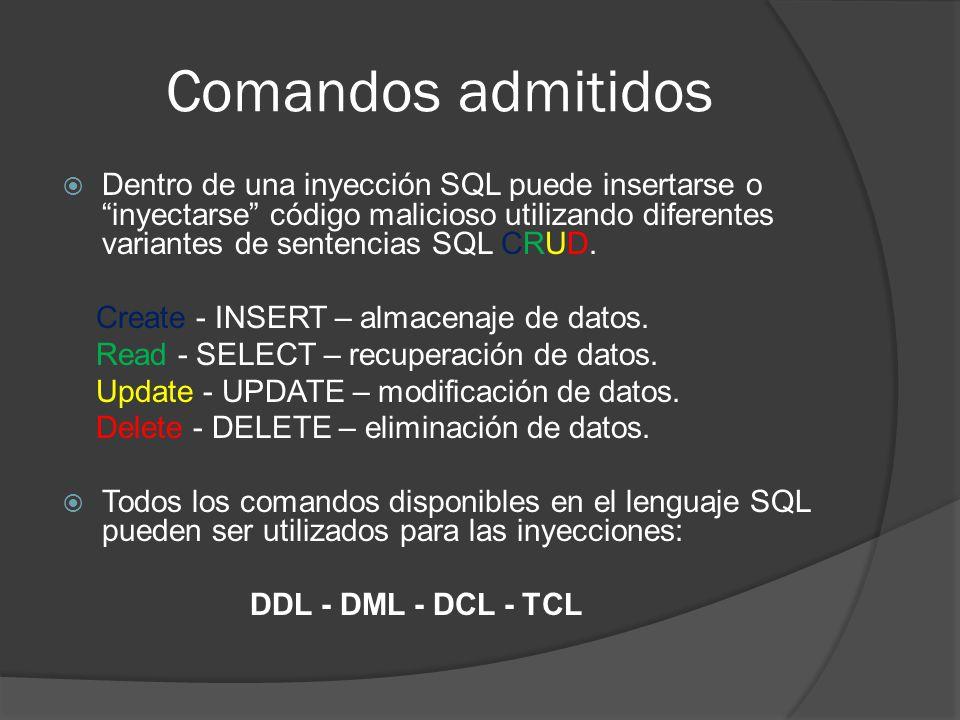 Comandos admitidos Dentro de una inyección SQL puede insertarse o inyectarse código malicioso utilizando diferentes variantes de sentencias SQL CRUD.