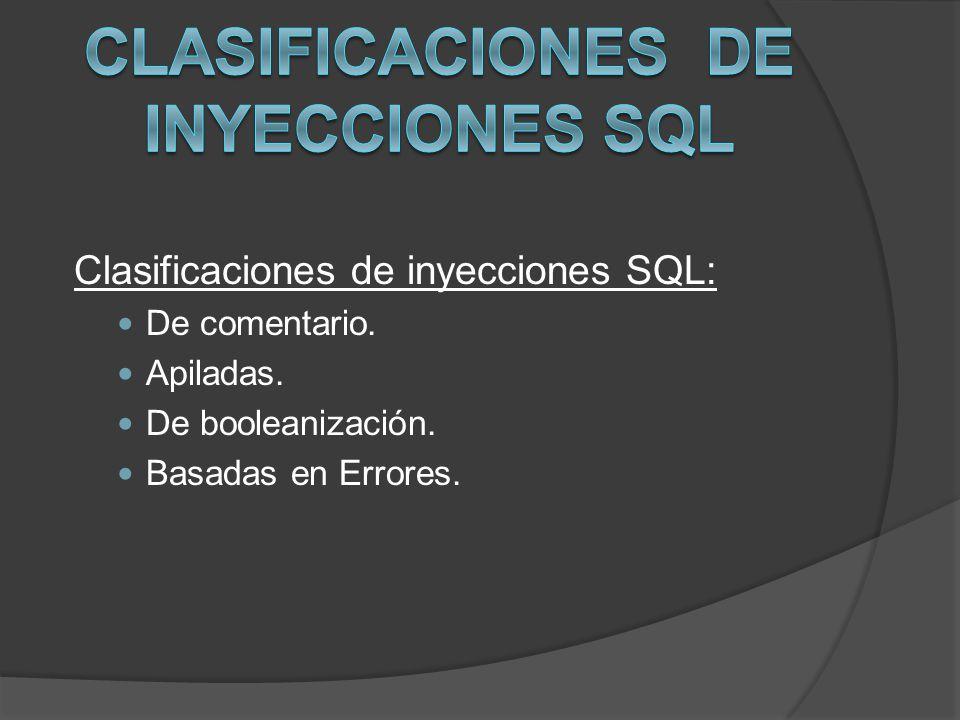 Clasificaciones de inyecciones SQL: De comentario. Apiladas. De booleanización. Basadas en Errores.