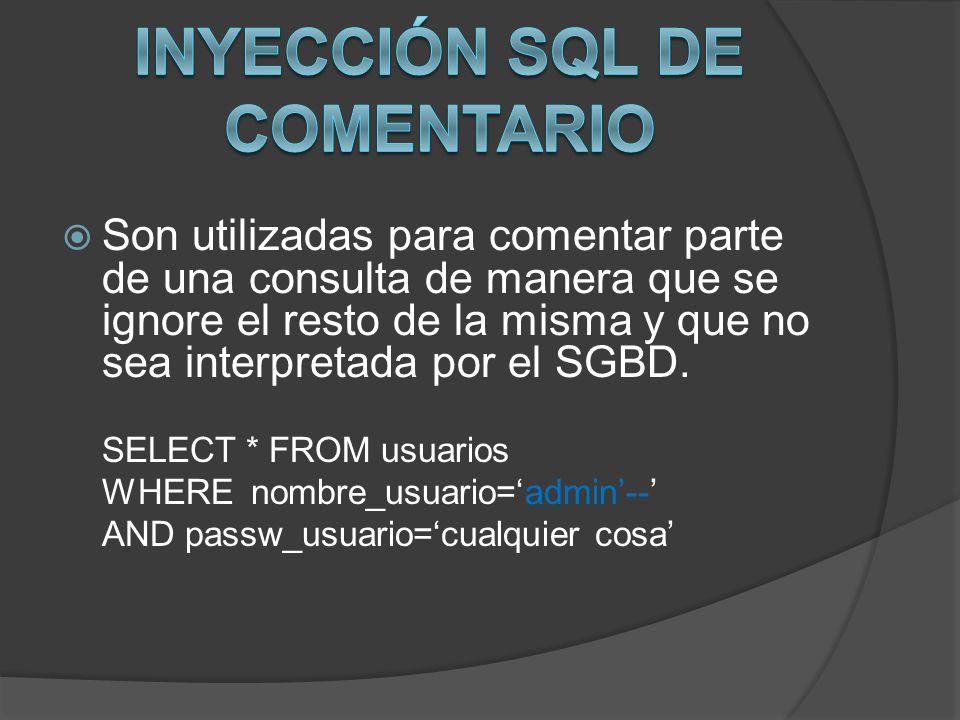 Son utilizadas para comentar parte de una consulta de manera que se ignore el resto de la misma y que no sea interpretada por el SGBD. SELECT * FROM u