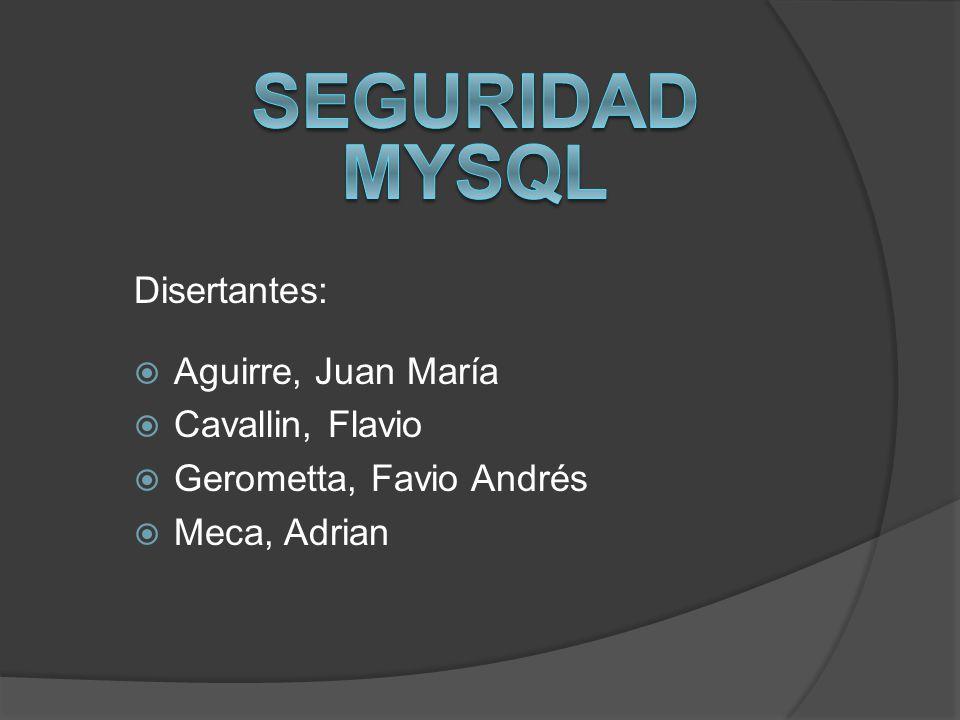 Disertantes: Aguirre, Juan María Cavallin, Flavio Gerometta, Favio Andrés Meca, Adrian