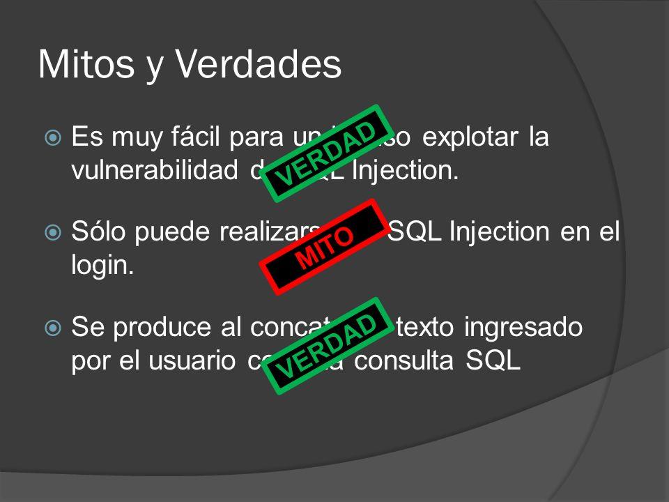 Mitos y Verdades Es muy fácil para un intruso explotar la vulnerabilidad de SQL Injection. Sólo puede realizarse un SQL Injection en el login. Se prod