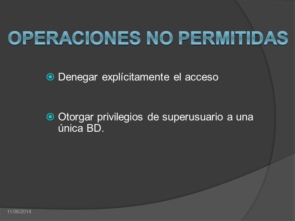 Denegar explícitamente el acceso Otorgar privilegios de superusuario a una única BD. 11/06/2014