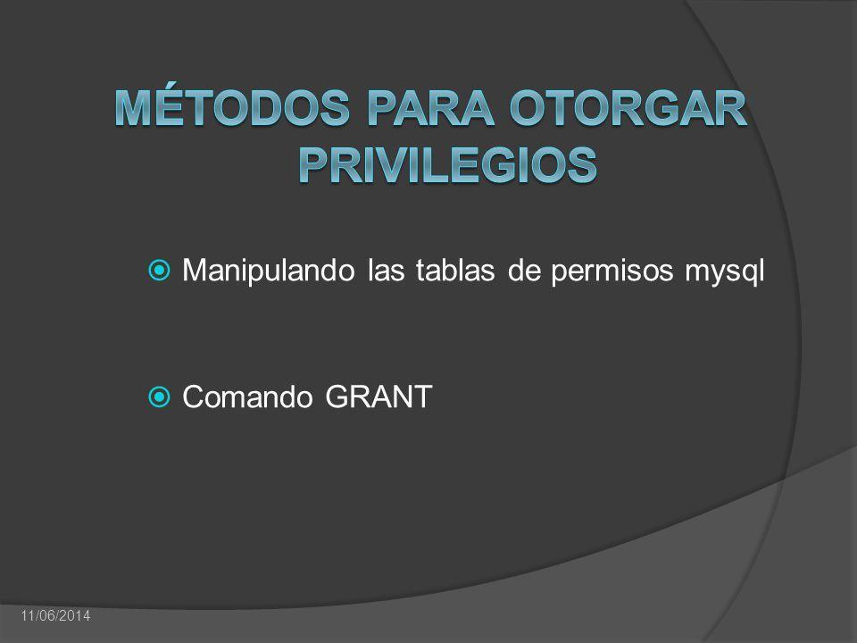 Manipulando las tablas de permisos mysql Comando GRANT 11/06/2014