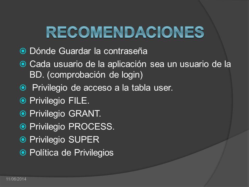 Dónde Guardar la contraseña Cada usuario de la aplicación sea un usuario de la BD. (comprobación de login) Privilegio de acceso a la tabla user. Privi