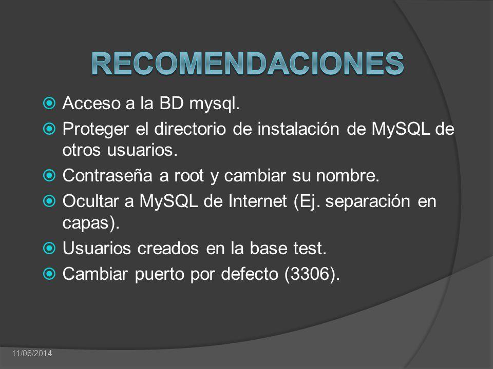 Acceso a la BD mysql. Proteger el directorio de instalación de MySQL de otros usuarios. Contraseña a root y cambiar su nombre. Ocultar a MySQL de Inte