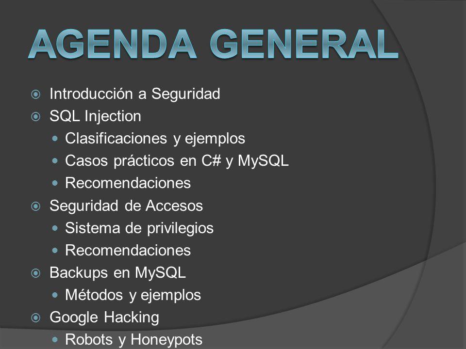 Introducción a Seguridad SQL Injection Clasificaciones y ejemplos Casos prácticos en C# y MySQL Recomendaciones Seguridad de Accesos Sistema de privil