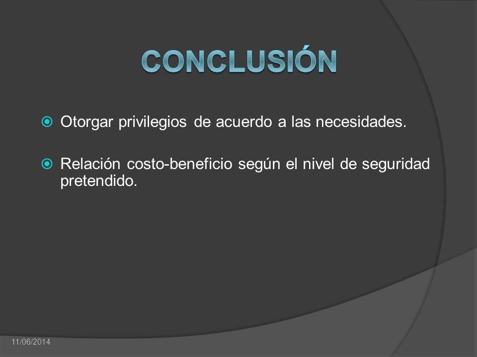 Otorgar privilegios de acuerdo a las necesidades. Relación costo-beneficio según el nivel de seguridad pretendido. 11/06/2014
