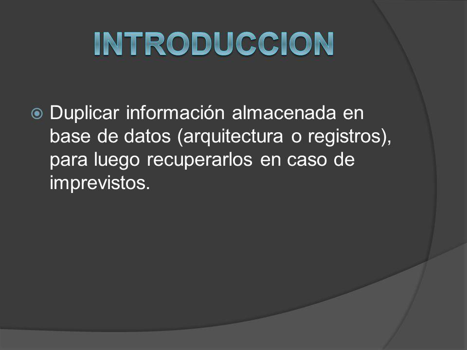 Duplicar información almacenada en base de datos (arquitectura o registros), para luego recuperarlos en caso de imprevistos.