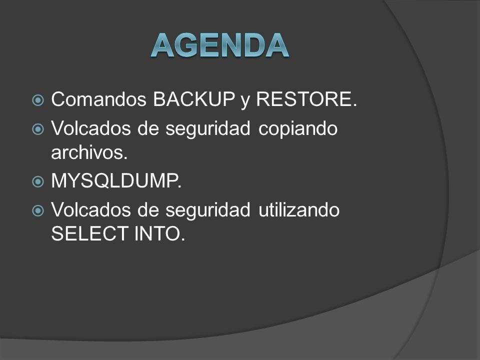 Comandos BACKUP y RESTORE. Volcados de seguridad copiando archivos. MYSQLDUMP. Volcados de seguridad utilizando SELECT INTO.
