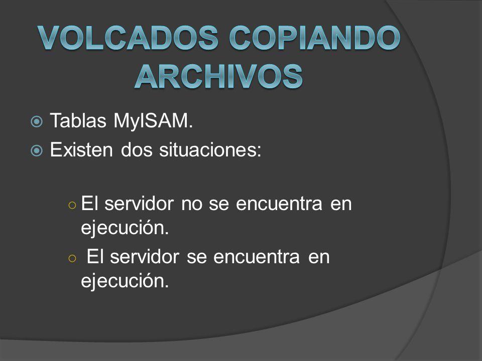 Tablas MyISAM. Existen dos situaciones: El servidor no se encuentra en ejecución. El servidor se encuentra en ejecución.