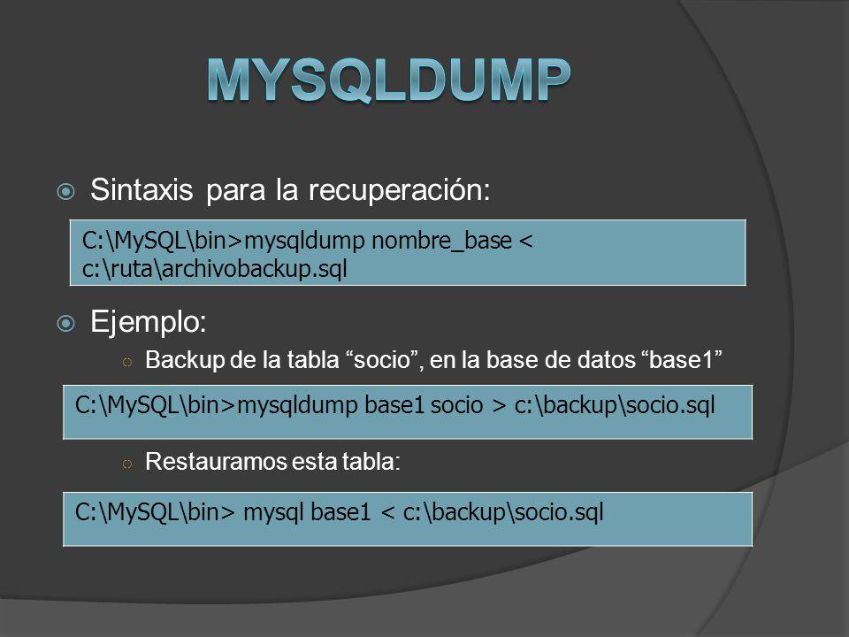 Sintaxis para la recuperación: Ejemplo: Backup de la tabla socio, en la base de datos base1 Restauramos esta tabla: C:\MySQL\bin>mysqldump nombre_base