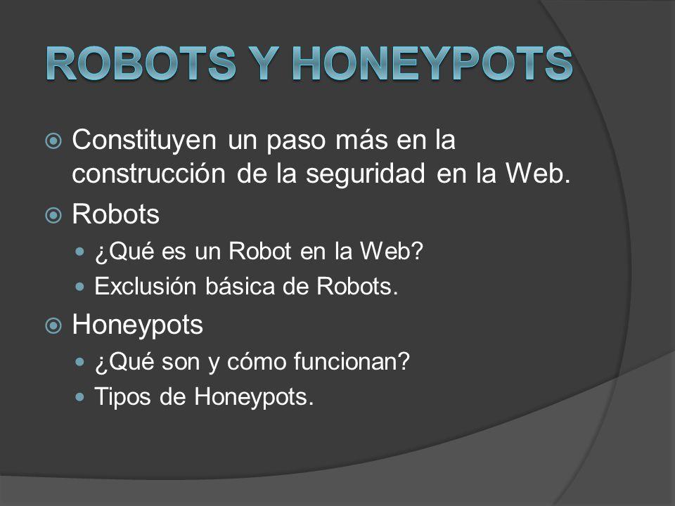 Constituyen un paso más en la construcción de la seguridad en la Web. Robots ¿Qué es un Robot en la Web? Exclusión básica de Robots. Honeypots ¿Qué so