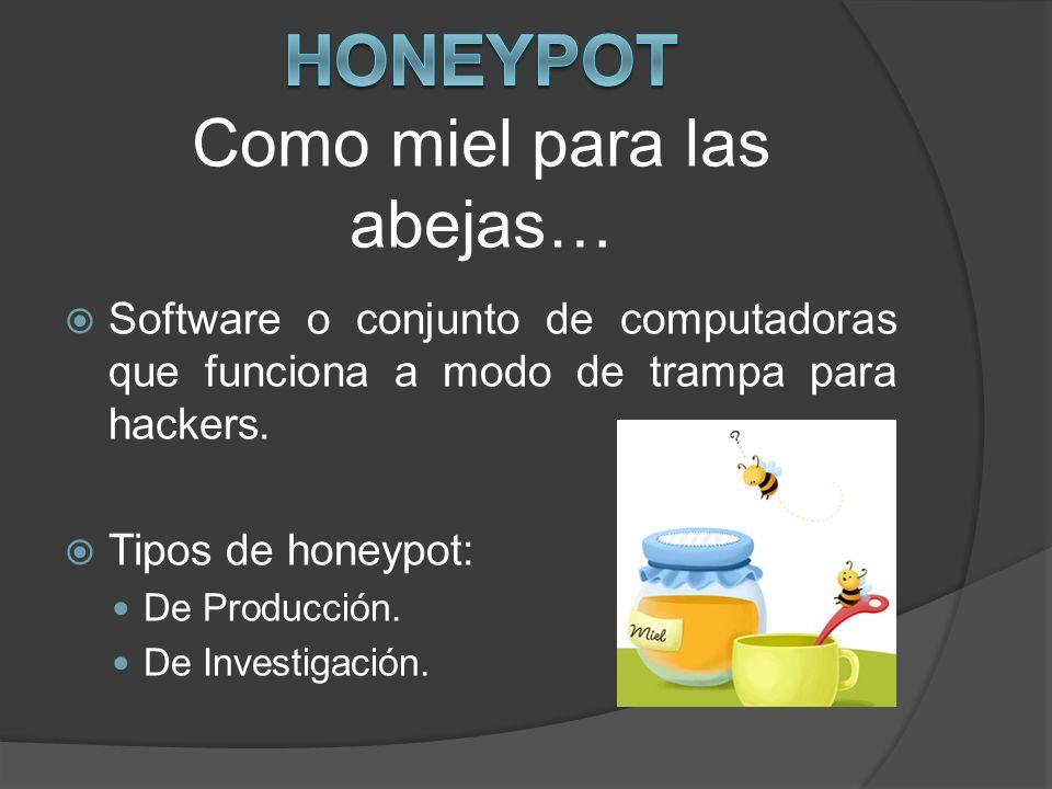 Software o conjunto de computadoras que funciona a modo de trampa para hackers. Tipos de honeypot: De Producción. De Investigación.