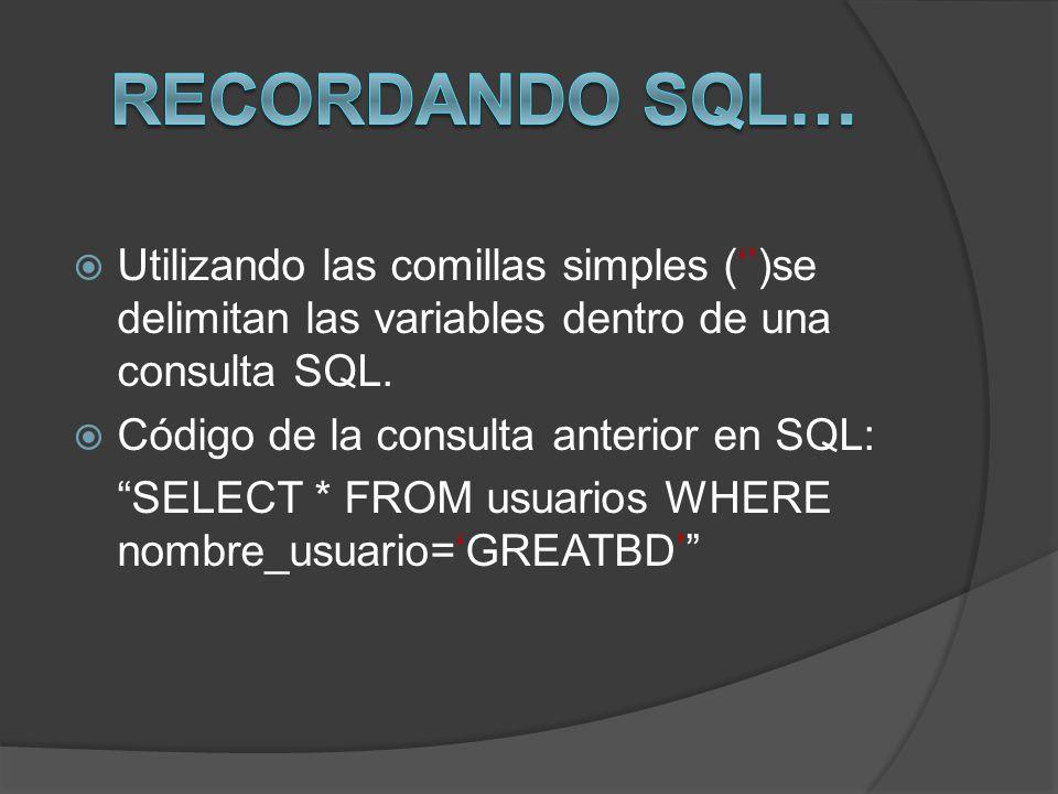 Utilizando las comillas simples ()se delimitan las variables dentro de una consulta SQL. Código de la consulta anterior en SQL: SELECT * FROM usuarios