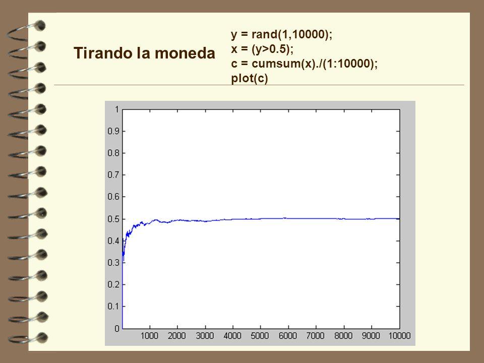 Tirando la moneda y = rand(1,10000); x = (y>0.5); c = cumsum(x)./(1:10000); plot(c)