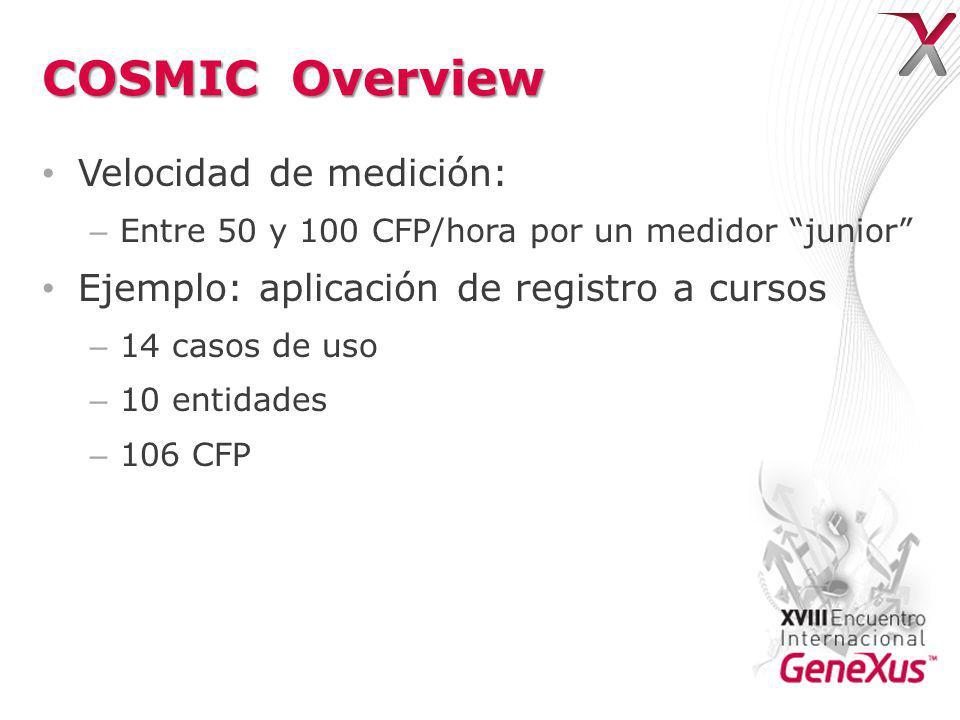 COSMIC Overview Velocidad de medición: – Entre 50 y 100 CFP/hora por un medidor junior Ejemplo: aplicación de registro a cursos – 14 casos de uso – 10 entidades – 106 CFP