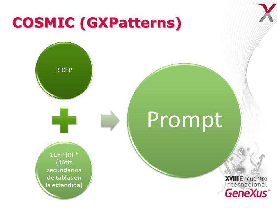 COSMIC (GXPatterns) 3 CFP 1CFP (R) * (#Atts secundarios de tablas en la extendida) Prompt