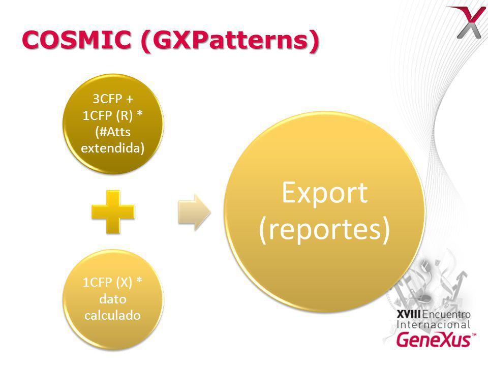 COSMIC (GXPatterns) 3CFP + 1CFP (R) * (#Atts extendida) 1CFP (X) * dato calculado Export (reportes)