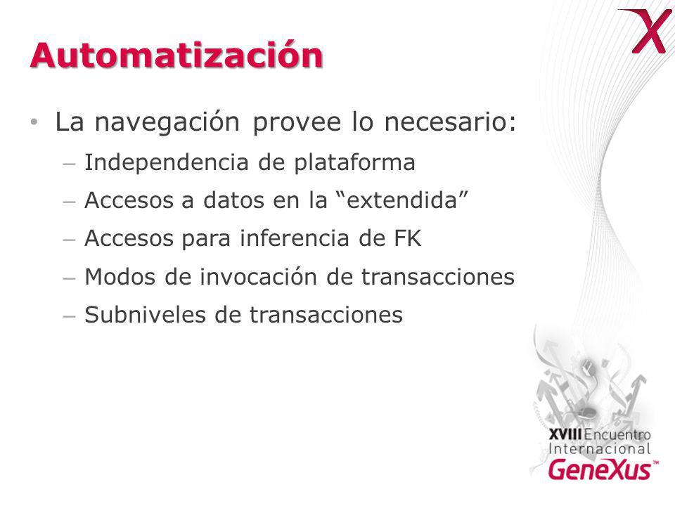 Automatización La navegación provee lo necesario: – Independencia de plataforma – Accesos a datos en la extendida – Accesos para inferencia de FK – Modos de invocación de transacciones – Subniveles de transacciones