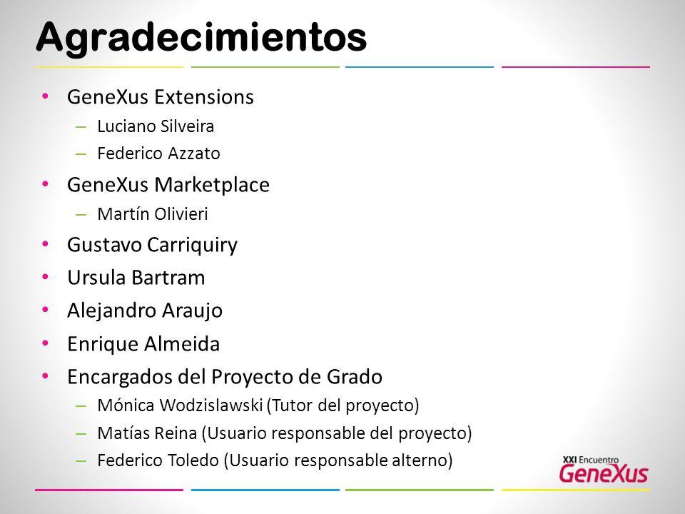 Agradecimientos GeneXus Extensions – Luciano Silveira – Federico Azzato GeneXus Marketplace – Martín Olivieri Gustavo Carriquiry Ursula Bartram Alejan