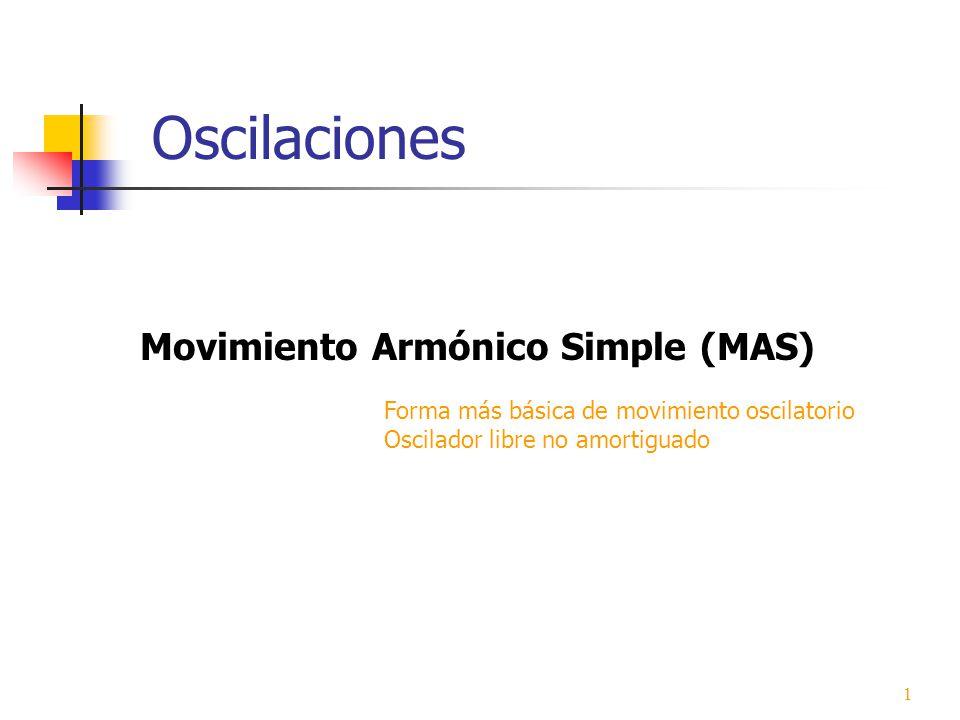 Oscilaciones Movimiento Armónico Simple (MAS) Forma más básica de movimiento oscilatorio Oscilador libre no amortiguado 1