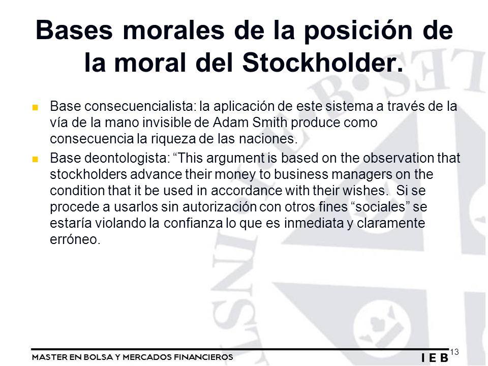 Bases morales de la posición de la moral del Stockholder. Base consecuencialista: la aplicación de este sistema a través de la vía de la mano invisibl