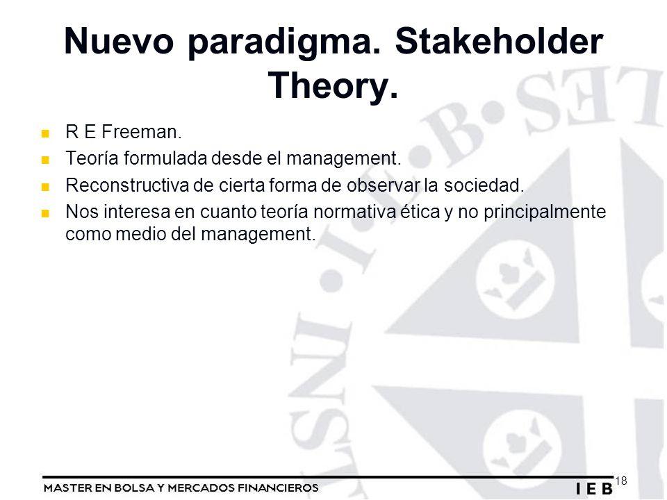Nuevo paradigma. Stakeholder Theory. R E Freeman. Teoría formulada desde el management. Reconstructiva de cierta forma de observar la sociedad. Nos in