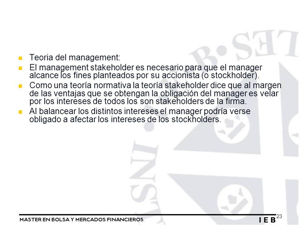 Teoria del management: El management stakeholder es necesario para que el manager alcance los fines planteados por su accionista (o stockholder). Como