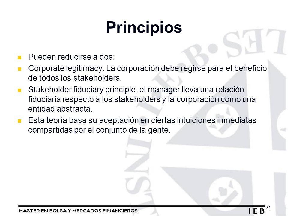 Principios Pueden reducirse a dos: Corporate legitimacy. La corporación debe regirse para el beneficio de todos los stakeholders. Stakeholder fiduciar
