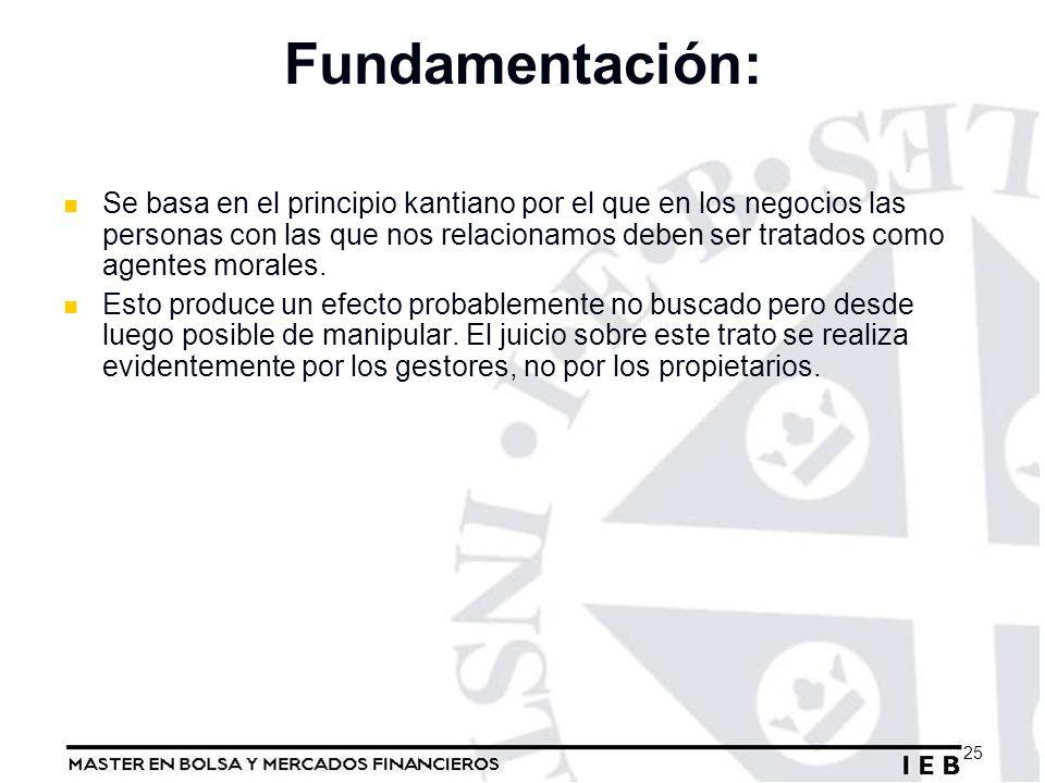 Fundamentación: Se basa en el principio kantiano por el que en los negocios las personas con las que nos relacionamos deben ser tratados como agentes