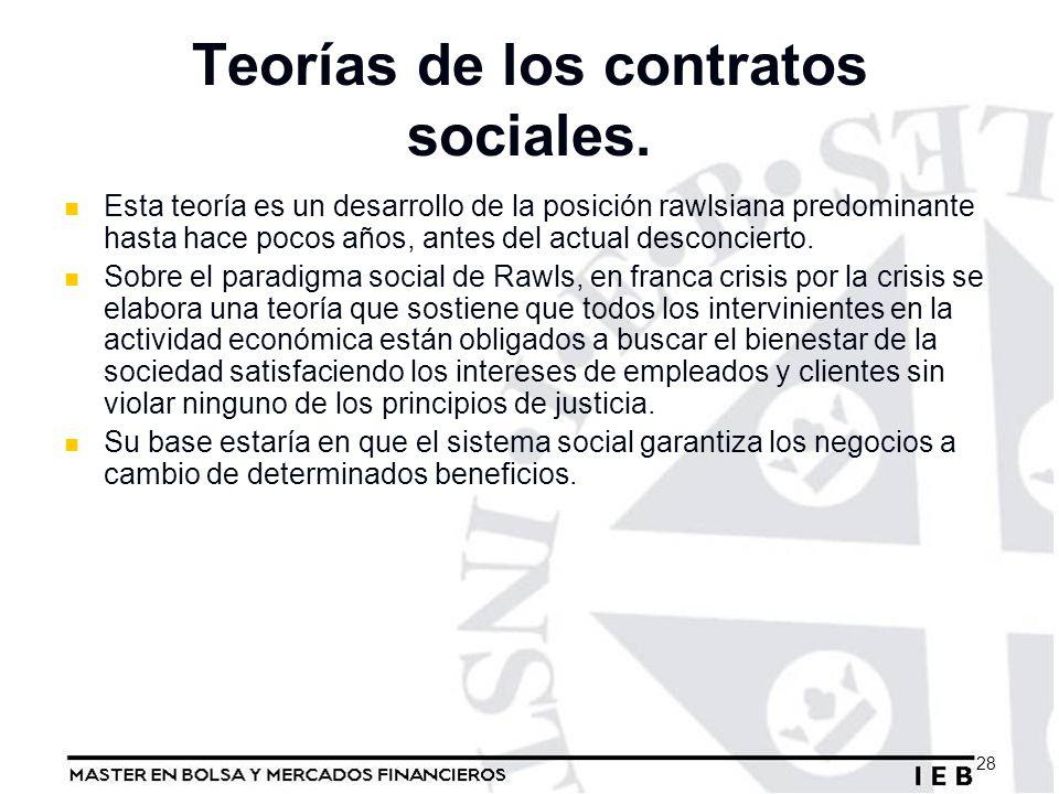 Teorías de los contratos sociales. Esta teoría es un desarrollo de la posición rawlsiana predominante hasta hace pocos años, antes del actual desconci