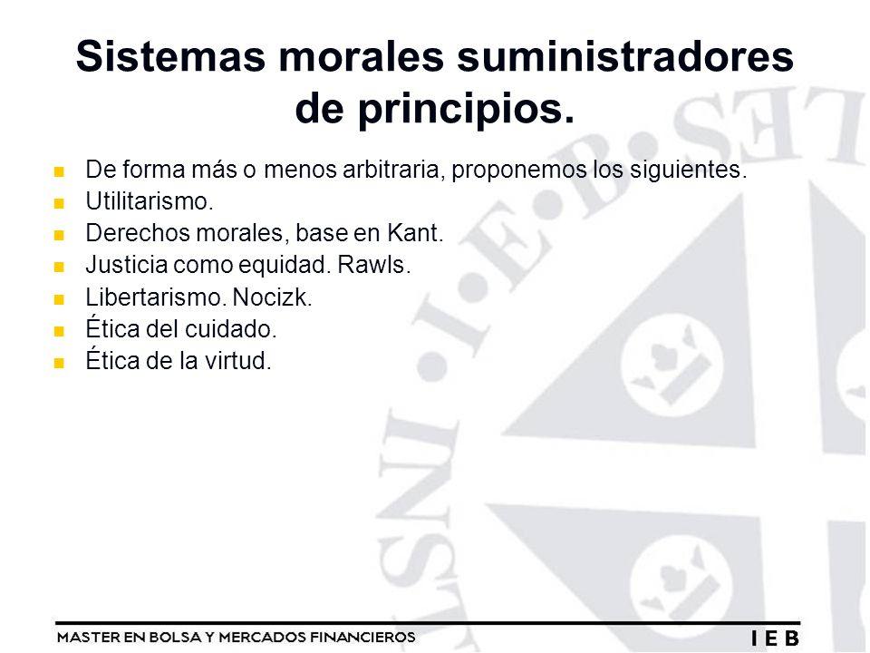 Sistemas morales suministradores de principios. De forma más o menos arbitraria, proponemos los siguientes. Utilitarismo. Derechos morales, base en Ka