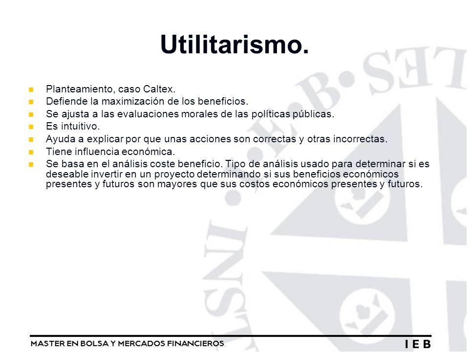 Utilitarismo. Planteamiento, caso Caltex. Defiende la maximización de los beneficios. Se ajusta a las evaluaciones morales de las políticas públicas.