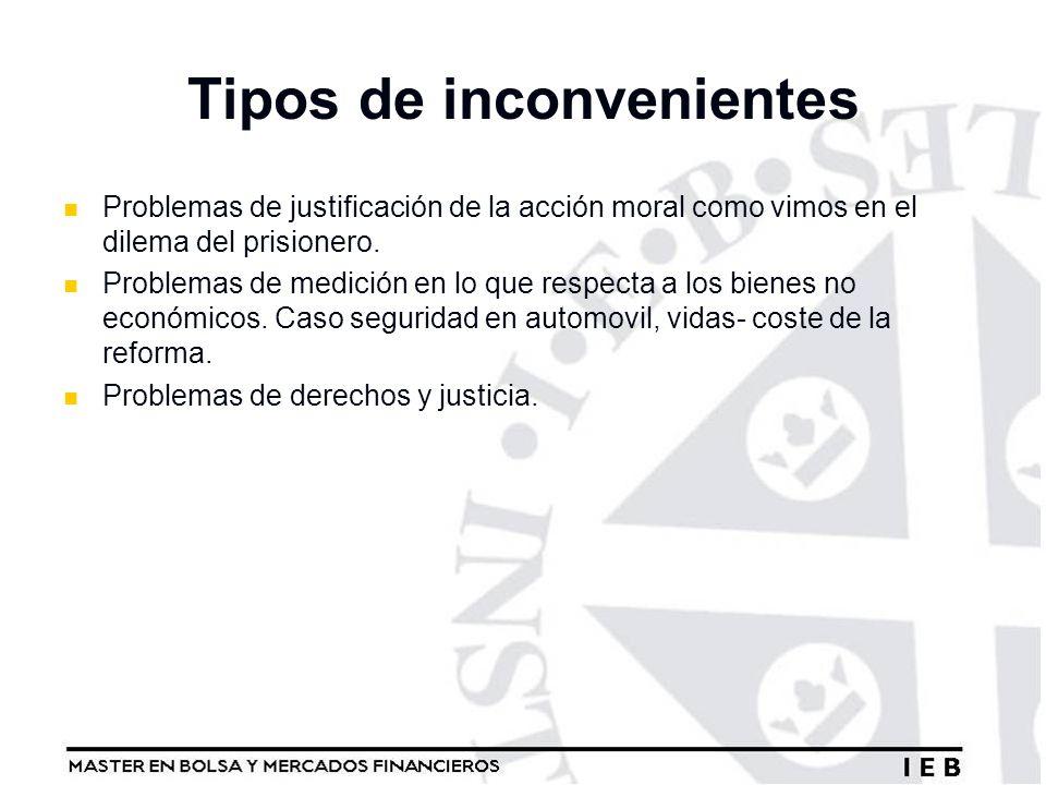 Tipos de inconvenientes Problemas de justificación de la acción moral como vimos en el dilema del prisionero. Problemas de medición en lo que respecta