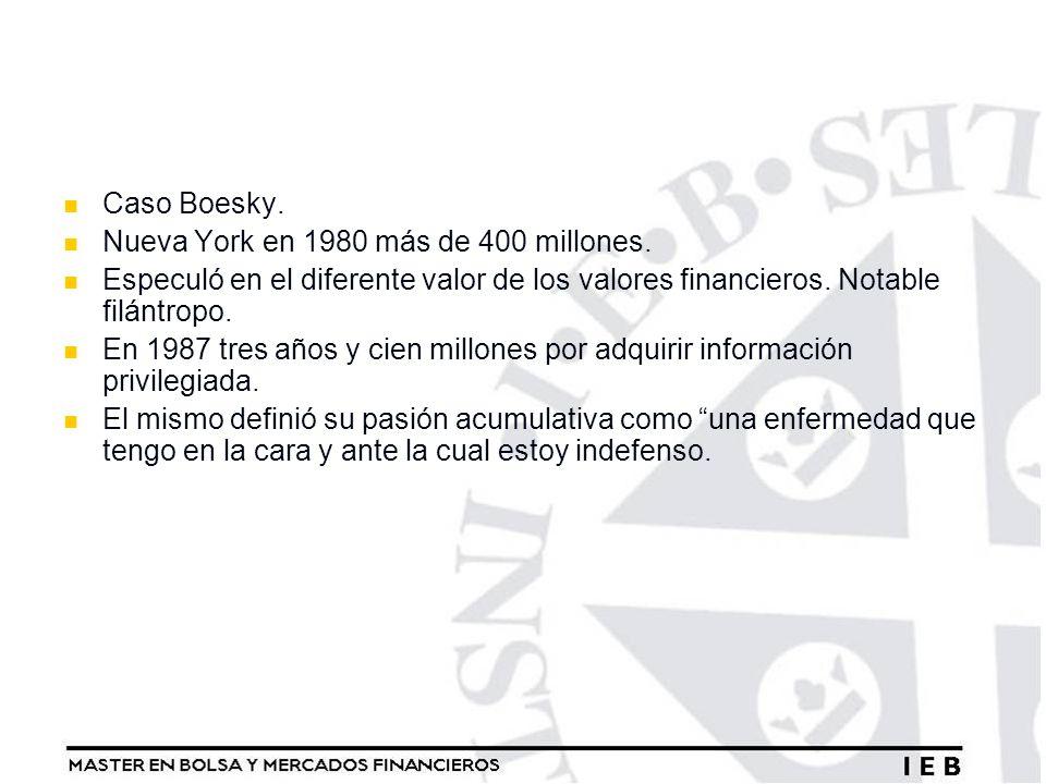 Caso Boesky. Nueva York en 1980 más de 400 millones. Especuló en el diferente valor de los valores financieros. Notable filántropo. En 1987 tres años
