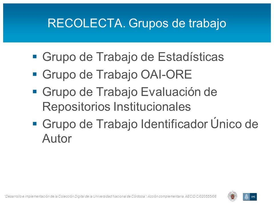 Desarrollo e implementación de la Colección Digital de la Universidad Nacional de Córdoba: Acción complementaria AECID C/020555/08 RECOLECTA.
