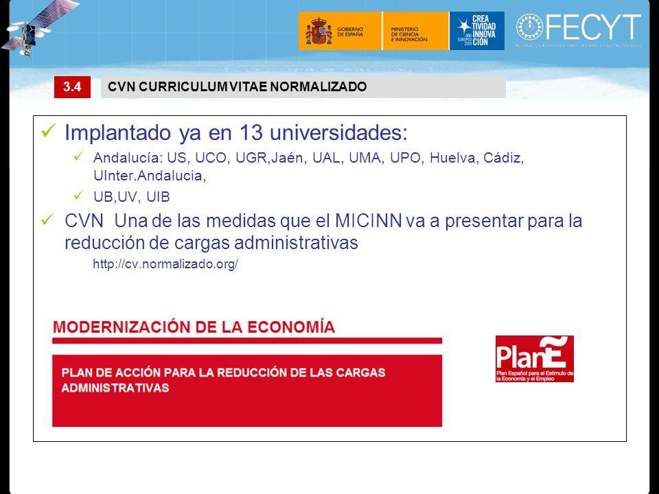 Implantado ya en 13 universidades: Andalucía: US, UCO, UGR,Jaén, UAL, UMA, UPO, Huelva, Cádiz, UInter.Andalucia, UB,UV, UIB CVN Una de las medidas que el MICINN va a presentar para la reducción de cargas administrativas http://cv.normalizado.org/ 3.4CVN CURRICULUM VITAE NORMALIZADO