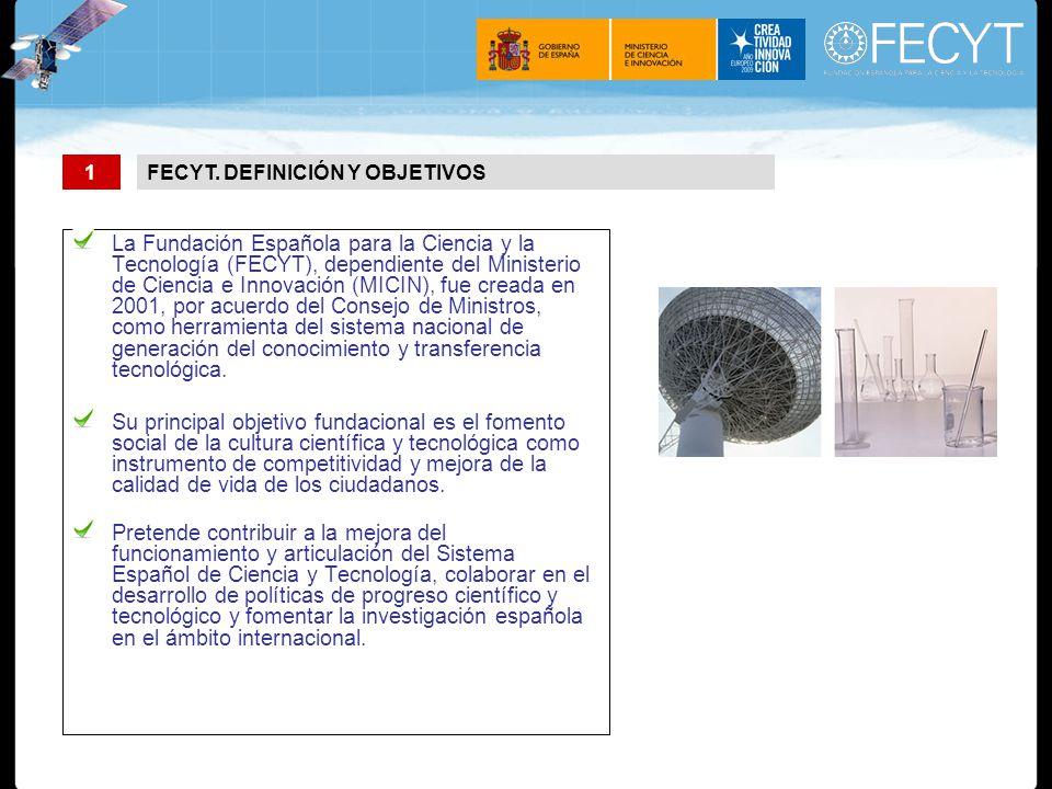 La Fundación Española para la Ciencia y la Tecnología (FECYT), dependiente del Ministerio de Ciencia e Innovación (MICIN), fue creada en 2001, por acuerdo del Consejo de Ministros, como herramienta del sistema nacional de generación del conocimiento y transferencia tecnológica.