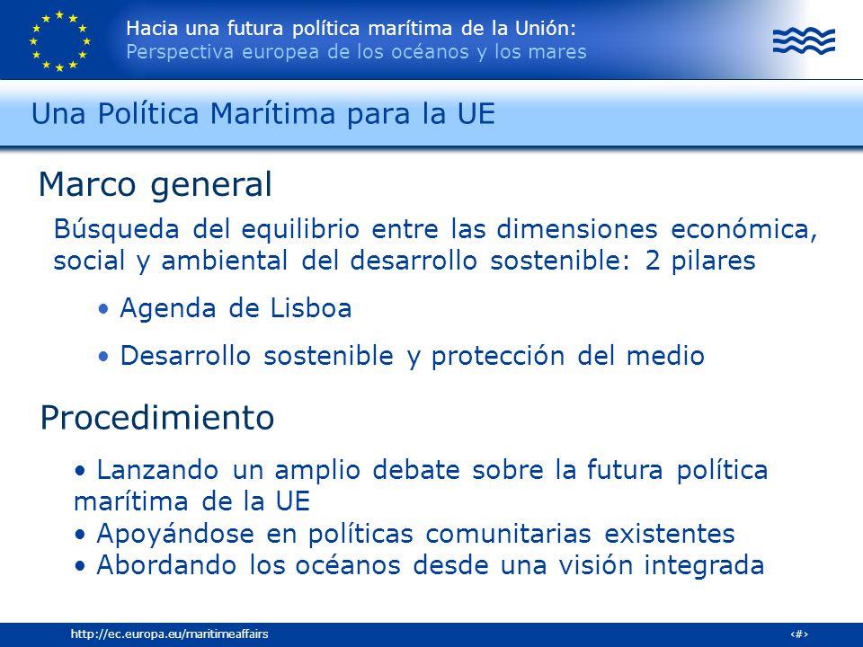Hacia una futura política marítima de la Unión: Perspectiva europea de los océanos y los mares 12http://ec.europa.eu/maritimeaffairs Marco general Bús