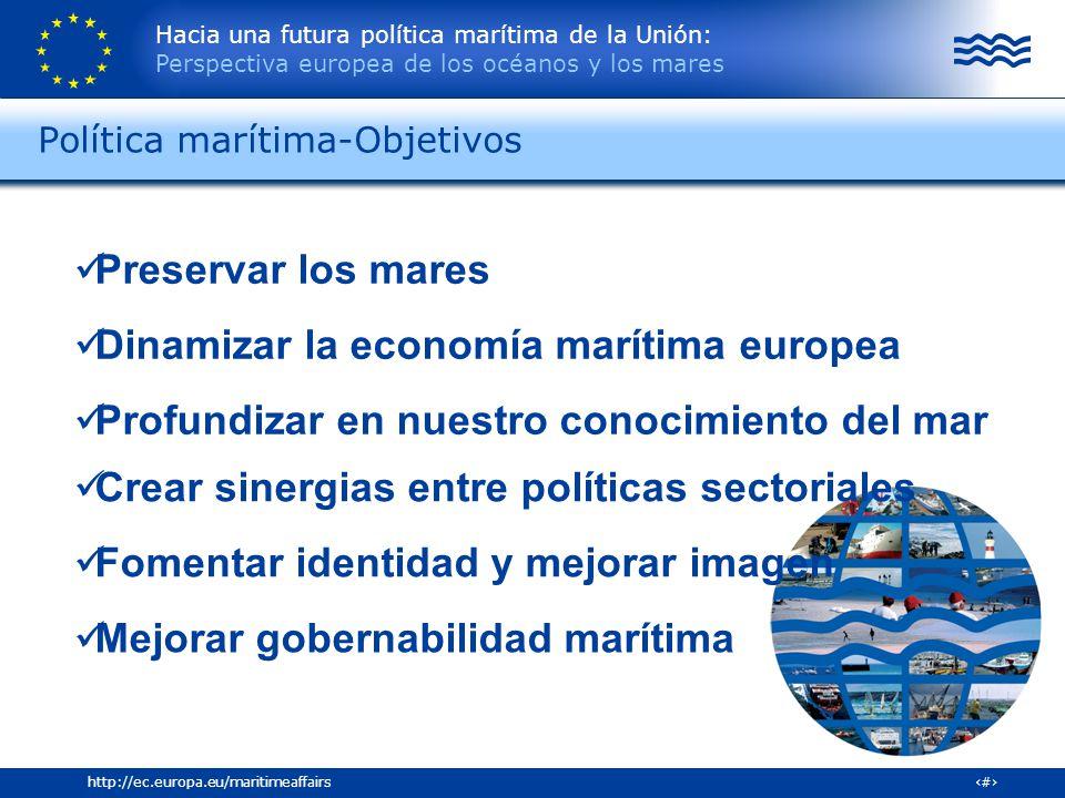 Hacia una futura política marítima de la Unión: Perspectiva europea de los océanos y los mares 16http://ec.europa.eu/maritimeaffairs Política marítima
